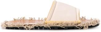 Marni frayed fabric edge slides