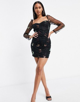 NaaNaa mesh sleeve butterfly print dress in black