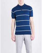 John Smedley Hembury striped knitted cotton polo shirt