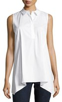 Lafayette 148 New York Hollyn Sleeveless Sharkbite-Hem Blouse, White