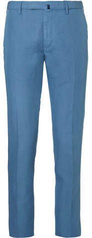 Incotex Slim-fit Garment-dyed Linen And Cotton-blend Trousers - Blue