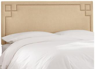 One Kings Lane Aiden Headboard - Sand Linen - upholstery, sand; nailheads, brass