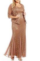R & M Richards Plus Sequined Lace 2-Piece Jacket Dress