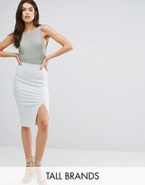 Missguided Tall Thigh Split Suede Look Midi Skirt