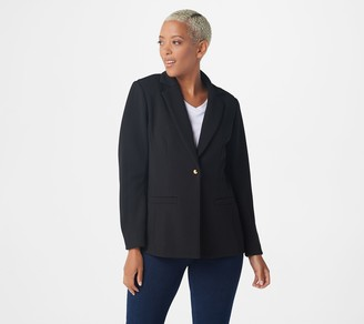 Joan Rivers Classics Collection Joan Rivers Textured Knit Blazer with Domed Buttons