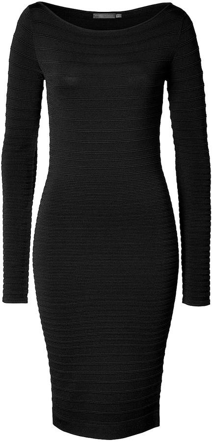 Donna Karan Textural Ribbed Dress in Black
