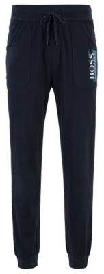 BOSS Loungewear trousers in heavyweight cotton jersey with textured logo