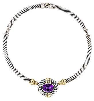 David Yurman Two-Tone Amethyst Cable Collar Necklace