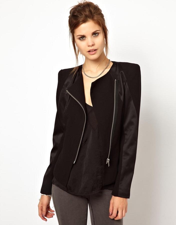 2nd Day Sharp Shoulder Jacket with Contrast Panels - Black