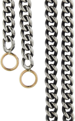 Marla Aaron Heavy Curb Silver Chain with Yellow Gold Loops Necklace