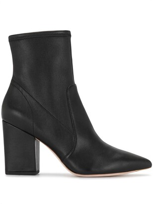 Loeffler Randall Pointed-Toe Leather Ankle Boots