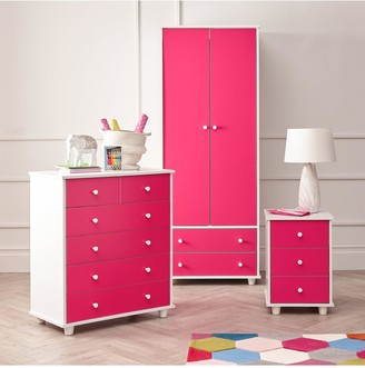 Miami Fresh Kids3 Piece Package - 2 Door, 2 Drawer Wardrobe, 5 Drawer Chest, 3 Drawer Bedside Chest - Pink
