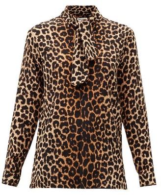 Saint Laurent Leopard-print Silk-crepe Blouse - Leopard