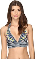 Red Carter Women's Feather Warrior Halter Underbust Tie Top Swimsuit Top