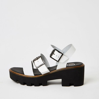 River Island White buckle strap chunky sandals