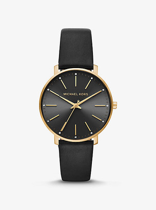 Michael Kors Pyper Gold-Tone and Leather Watch