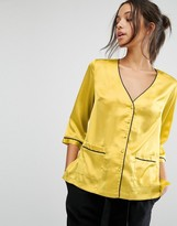 Missguided Piping Pocket Front Blouse