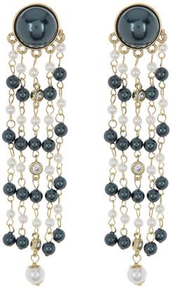 Carolee Cascading Chandelier Pearl Drop Clip-On Earrings