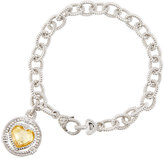 Judith Ripka Athena Canary Crystal Heart Charm Bracelet