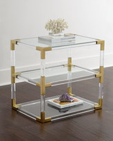 Jonathan Adler Jacques Lucite & Brass Two-Tier Table