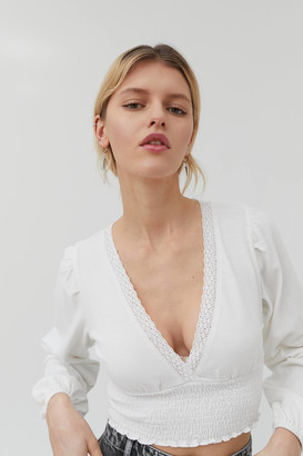 Urban Outfitters Daisy Plunging Lace Trim Top