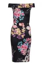 Quiz Black Flower Print Midi Dress