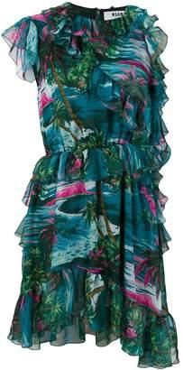 MSGM ruffle-trim asymmetric dress