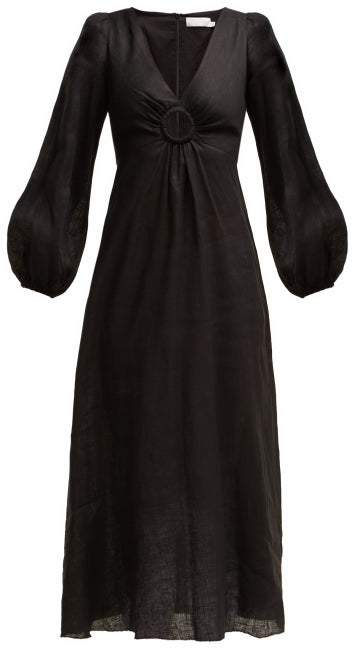 Zimmermann Wayfarer Linen Dress - Womens - Black