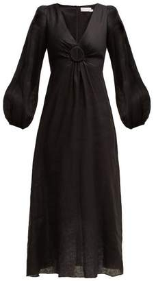 Zimmermann Wayfarer Linen Dress - Womens - Black