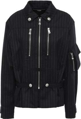 Versace Metallic Pinstriped Wool-blend Twill Jacket