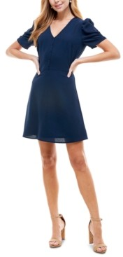 BeBop Juniors' Puff-Sleeve Fit & Flare Dress