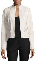 Neiman Marcus Classic Leather Jacket W/Zip Pockets, Beige