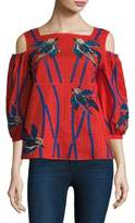 Tanya Taylor Bird Embroidered Cotton Cold Shoulder Top