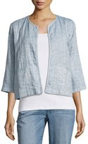 Eileen Fisher Quilted Organic Cotton/Linen Short Jacket, Chambray, Petite