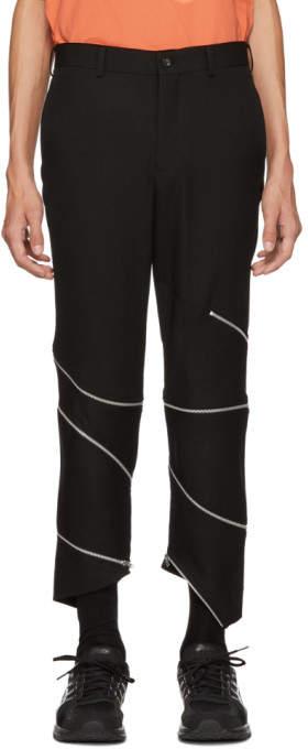 Comme des Garcons Black Wool Zipper Trousers