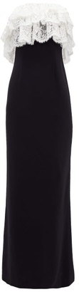Alessandra Rich Lace-ruffle Column Dress - Womens - Black White