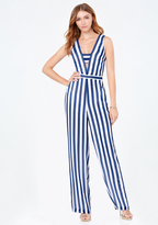 Bebe Striped Bandeau Jumpsuit