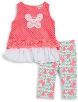 Little Lass Girls 2-6x Little Girls Butterfly Tunic and Leggings Set