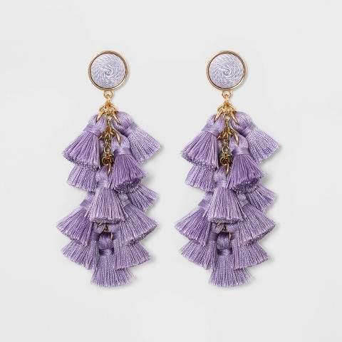 5a7371d15c597 SUGARFIX by Multi-Tassel Drop Earrings - Lilac