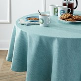 "Crate & Barrel Linden Aqua 90"" Round Tablecloth"