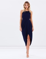 Shona Joy Core High-Neck Ruched Draped Dress