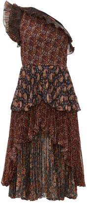 Altuzarra Kamala Paisley Print One Shoulder Chiffon Dress - Womens - Brown Multi