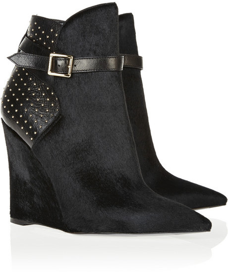 Burberry Studded leather and calf hair wedge ankle boots