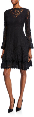 Shani Long-Sleeve Illusion-Neck Ruffle-Hem Lace Dress