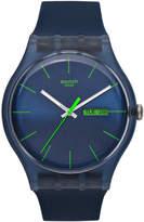 Swatch Watch, Unisex Swiss Blue Rebel Blue Silicone Strap 41mm SUON700