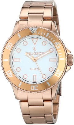 Peugeot Women's Stainless Steel 14K Rose Gold Plated Sports Bezel Pro Diver Watch 1023RG