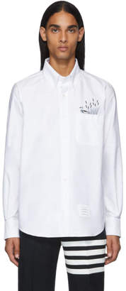 Thom Browne White Pocket Duck Embroidery Oxford Shirt