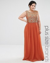 Club L Plus Maxi Dress With Metallic Lace Top