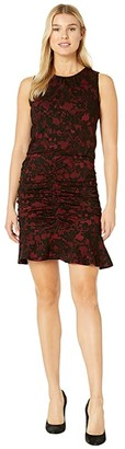 MICHAEL Michael Kors Glam Lace Jacquard Shirred Dress (Red Currant) Women's Dress