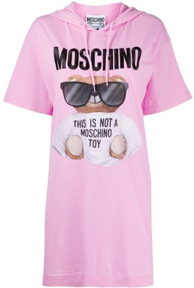 Moschino Teddy Bear-print hooded T-shirt dress